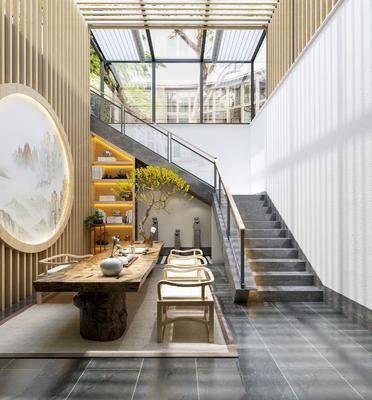 桌椅組合, 樓梯, 墻飾, 餐具組合, 盆栽植物