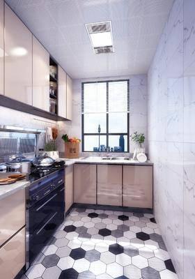厨房, 橱柜组合, 洗手台, 装饰柜, 厨具组合, 北欧