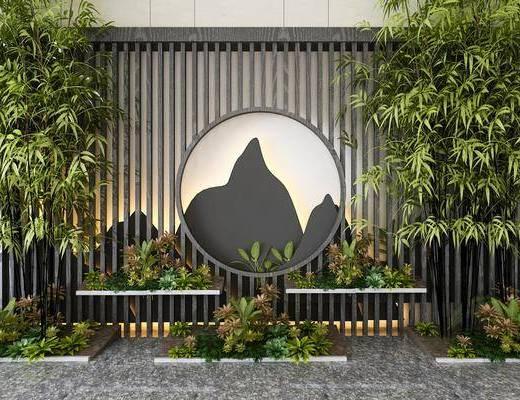 景观小品, 竹子, 植物, 中式