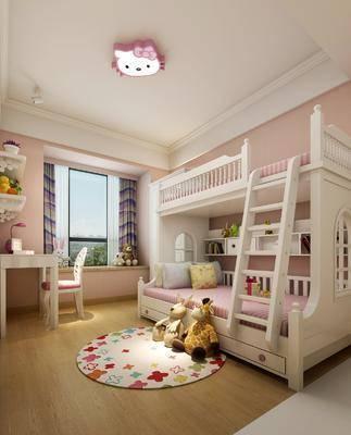 简欧, 儿童房, 双人床