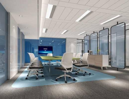 现代, 会议室, 会议桌, 办公椅, 单椅, 边柜