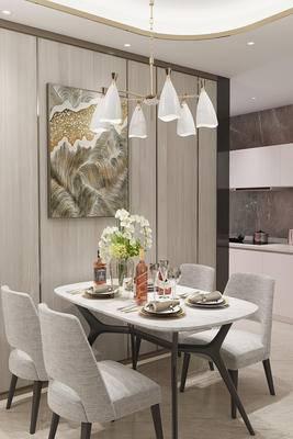 餐桌椅组合, 吊灯, 装饰柜, 餐具