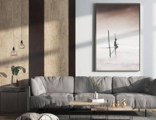 现代, 沙发组合, 挂画, 装饰画, 花瓶, 吊灯, 茶几, 抱枕
