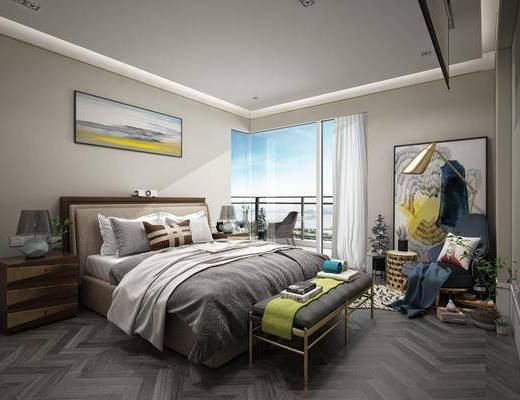 卧室, 装饰画, 床, 床尾凳, 床头柜, 休闲椅, 落地灯, 现代, 北欧