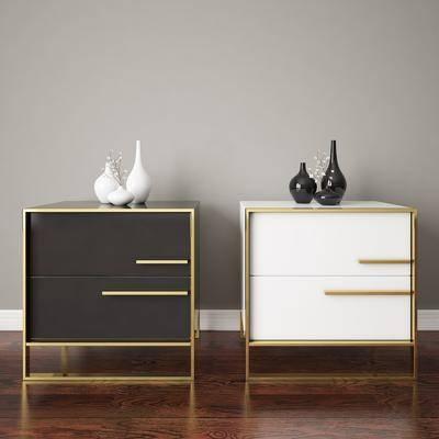 现代储物边几床头柜, 现代, 床头柜, 储物柜
