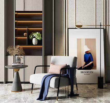 单椅, 单人沙发, 茶几, 置物柜, 吊灯, 装饰画