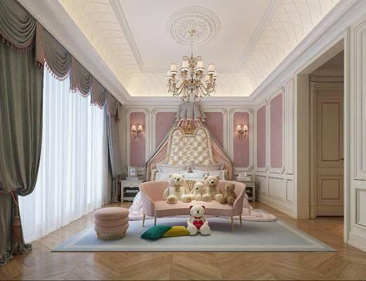 儿童房, 女孩房, 欧式女孩房, 床具组合, 沙发, 玩偶, 布娃娃, 吊灯, 壁灯, 欧式