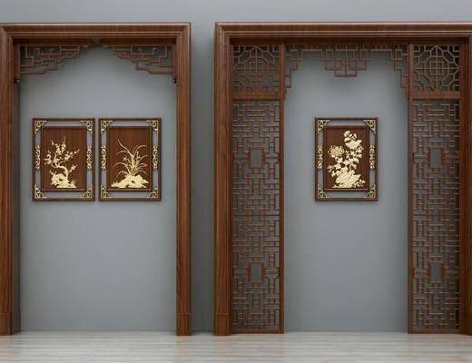 门拱门洞, 隔断屏风, 装饰画, 挂画, 新中式