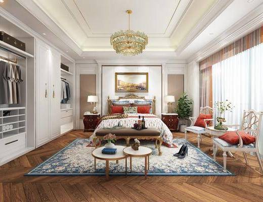 卧室, 欧式卧室, 床具组合, 双人床, 床头柜, 吊灯, 单椅, 茶几, 圆几, 摆件组合, 衣柜, 衣服, 床尾踏, 挂画, 台灯, 欧式