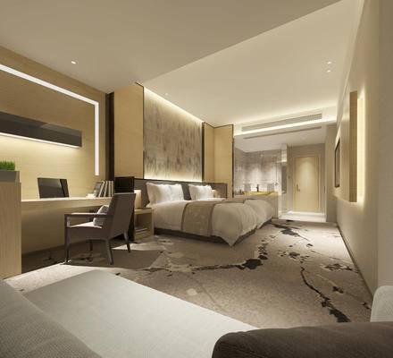 新中式, 酒店客房, 床具组合, 桌椅组合, 1000套空间酷赠送模型