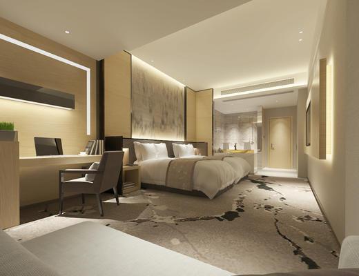 新中式, 酒店客房, 床具组合, 桌椅组合