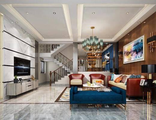 后现代别墅客厅, 后现代, 客厅, 电视柜, 沙发组合, 楼梯, 别墅