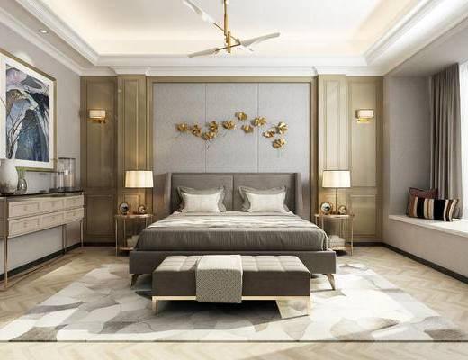 新中式卧室, 卧室, 现代卧室