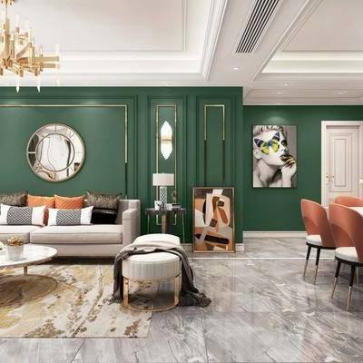 现代客厅, 客厅, 现代餐厅, 餐厅, 沙发组合, 餐桌椅