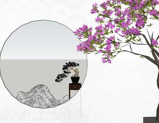 盆景, 植物, 摆件组合