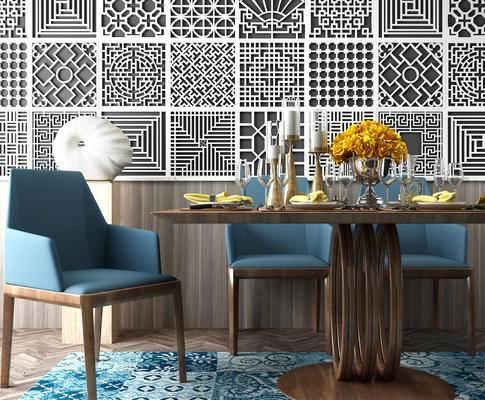 方形花格, 美式, 餐桌椅, 组合