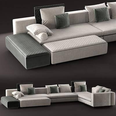 多人沙发, 转角沙发, 脚踏, 抱枕, 沙发, 现代