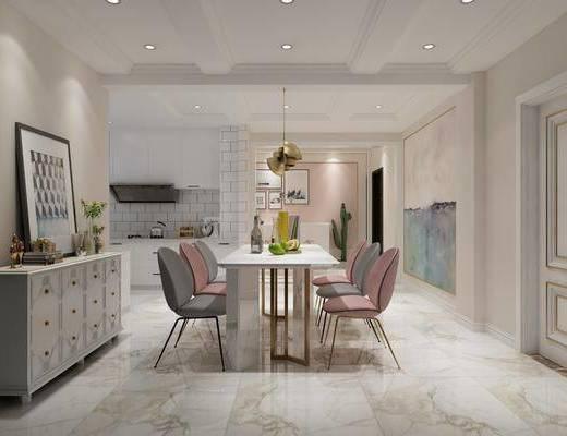 后现代客厅, 餐厅, 卧室, 现代, 沙发茶几组合, 沙发组合, 餐桌椅, 桌椅组合, 床具组合