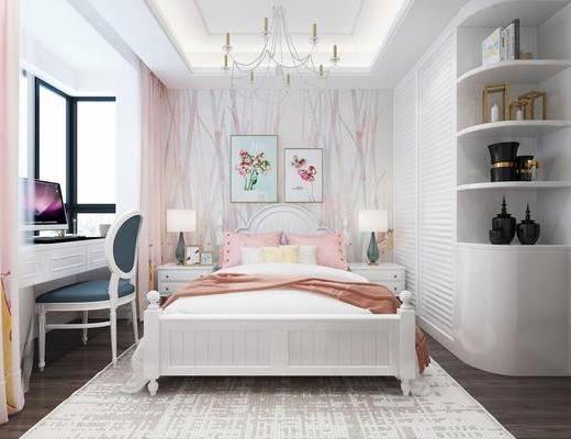 简欧女孩房, 儿童房, 卧室, 双人床