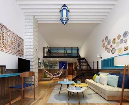 公寓, 客厅, 沙发组合, 沙发茶几组合, 地中海