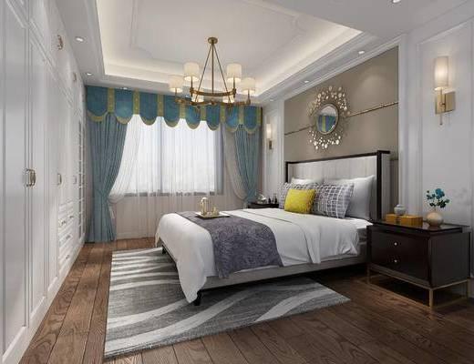 欧式, 简欧卧室, 主卧, 简欧, 卧室, 床, 床头柜, 壁灯, 吊灯