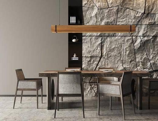 餐厅, 桌椅组合, 餐桌, 餐椅, 单人椅, 吊灯, 石材背景墙, 餐具, 现代