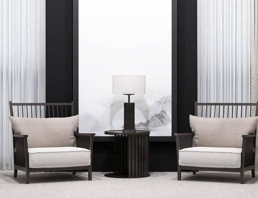 新中式, 中式, 单人沙发, 边几, 台灯, 装饰画