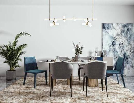 餐椅, 餐桌, 桌花, 摆件, 餐边柜, 绿植, 餐厅吊灯