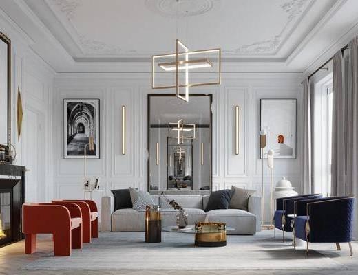 沙发组合, 客厅, 茶几组合, 吊灯, 装饰画, 单椅, 边柜