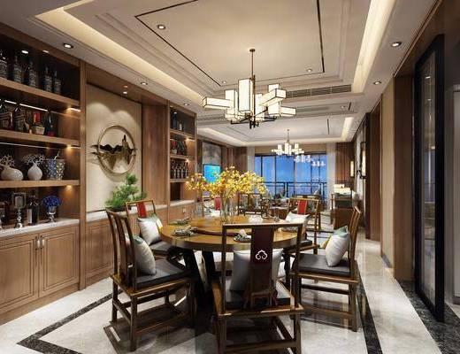 新中式餐厅, 新中式, 餐厅, 中式椅子, 中式吊灯, 酒柜