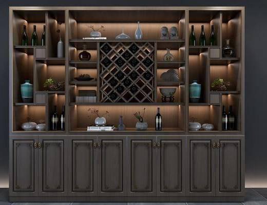 酒柜模型, 擺件組合, 新中式