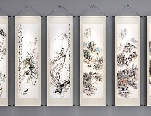 挂画, 山水画, 中式
