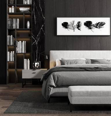 床具组合, 双人床, 现代床具组合, 书柜, 摆件组合