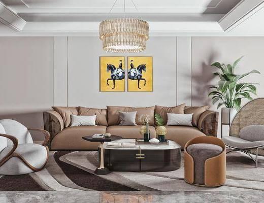 多人皮革沙发, 单人沙发, 矮凳, 摆件, 装饰品