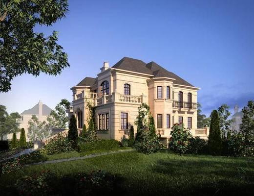 别墅, 欧式别墅, 外观, 园林, 景观
