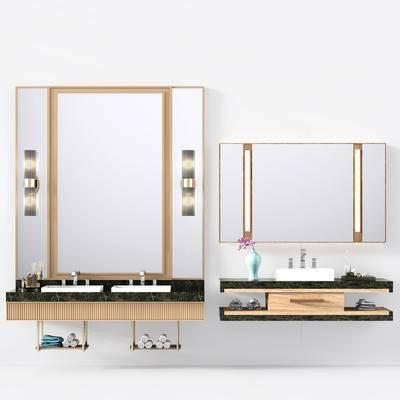 现代洗手盘, 洗手盘, 壁灯, 现代