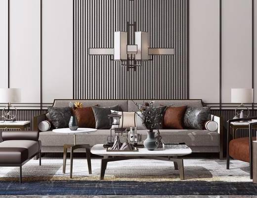 休闲单人椅子, 边几, 台灯, 吊灯, 茶几, 摆件