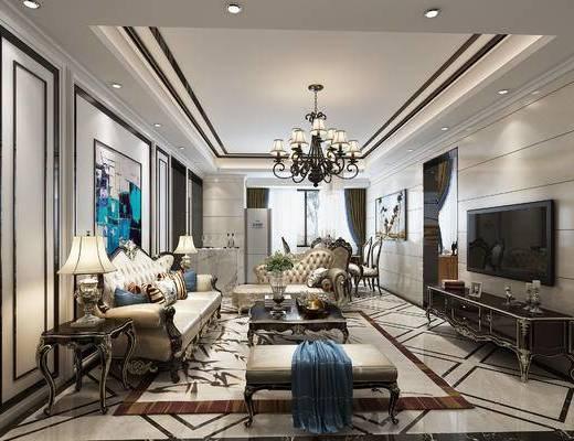 欧式风格, 客餐厅, 入户玄关, 客厅, 欧式沙发, 电视柜, 茶几