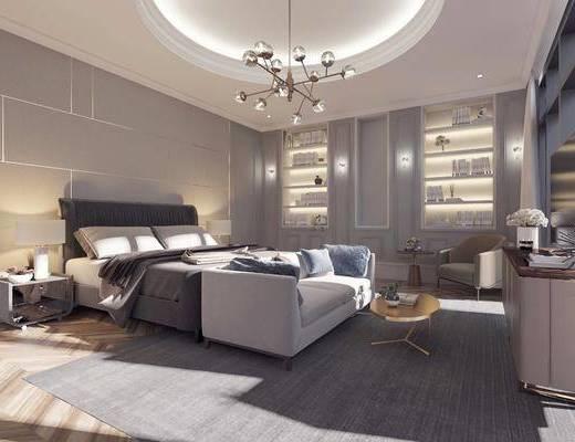 卧室, 双人床, 电视柜, 边柜, 茶几, 床头柜, 台灯, 单人沙发, 边几, 摆件, 装饰品, 陈设品, 书柜, 书籍, 壁灯, 吊灯, 装饰柜, 现代