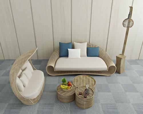沙发组合, 双人沙发, 茶几, 摆件, 装饰品, 陈设品, 新中式