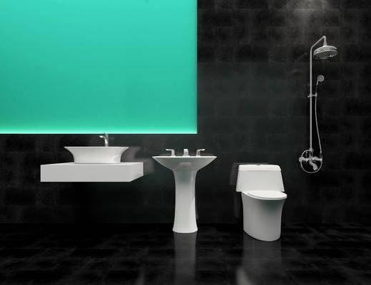 卫浴模型, 卫浴组合, 马桶, 洗手台, 花洒, 现代