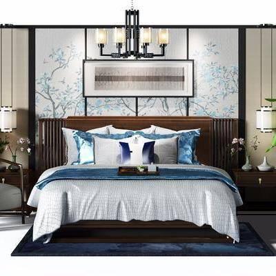 中式床组合, 中式床, 中式吊灯, 床头柜, 沙发椅, 植物
