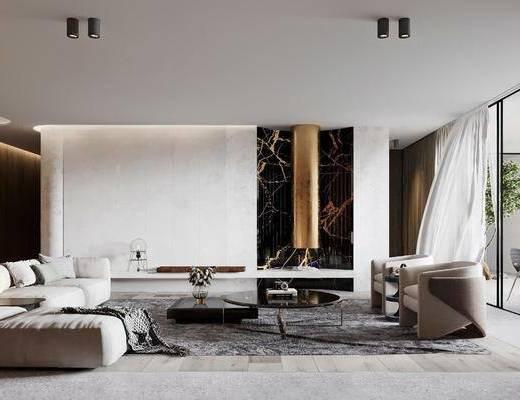 现代, 客厅, 沙发, 休闲椅, 边几, 地毯, 摆件