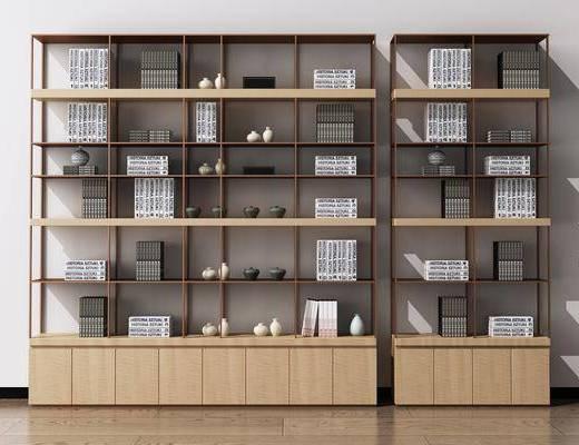书架, 书柜, 装饰柜, 陈列柜, 书籍, 装饰品, 陈设品, 摆件, 新中式
