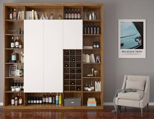 酒柜, 单人椅, 装饰画, 挂画, 装饰品, 摆件, 现代
