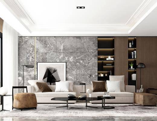 沙发组合, 多人沙发, 茶几, 落地灯, 装饰画, 挂画, 装饰柜, 单人沙发, 现代