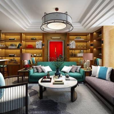 新中式, 客厅, 书柜, 沙发组合, 吊灯, 中式