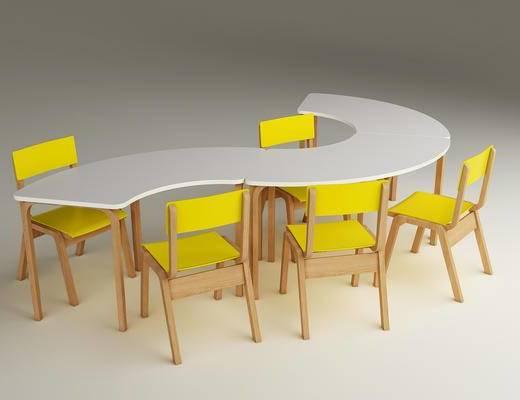 幼儿园, 桌椅, 弧形, 儿童, 早教, 学前班, 教室, 儿童桌椅, 现代