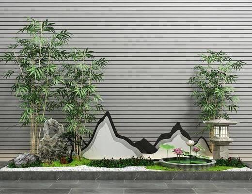 园艺小品, 假山景观, 新中式