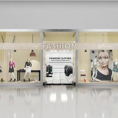 女装服装店, 门头橱窗, 模特吊灯, 现代